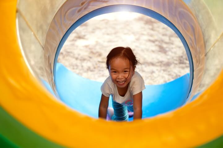 Homemade Obstacle Course For Preschoolers - Crawl Under Obstacles